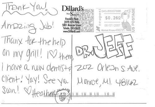 A thank you postcard from a patient for Kuras Dental Health Associates in Monroe, MI